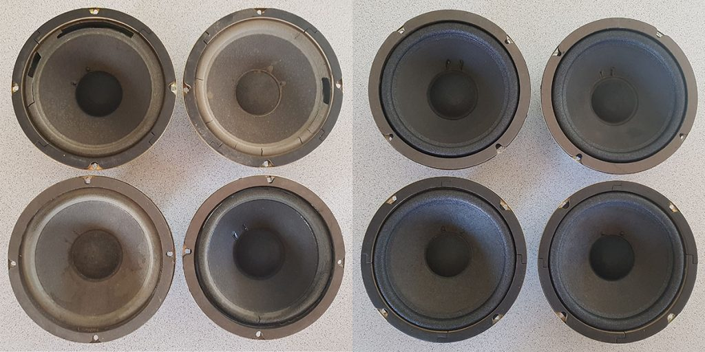 Bose 601 Basslautsprcher links vor, rechts nach der Lautsprecherreparatur