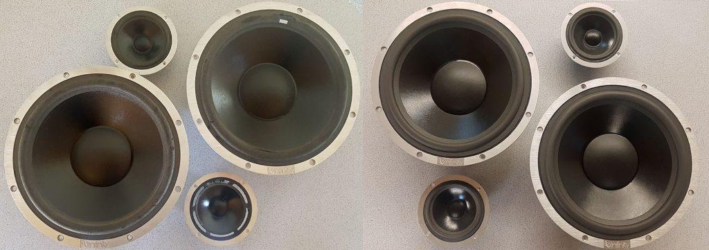 Infinity SM225 Tieftöner und Mitteltöner, vor und nach dem REFOAMING