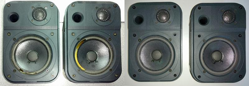 JBL Pro III mit defekten Sicken und nach der Reparatur