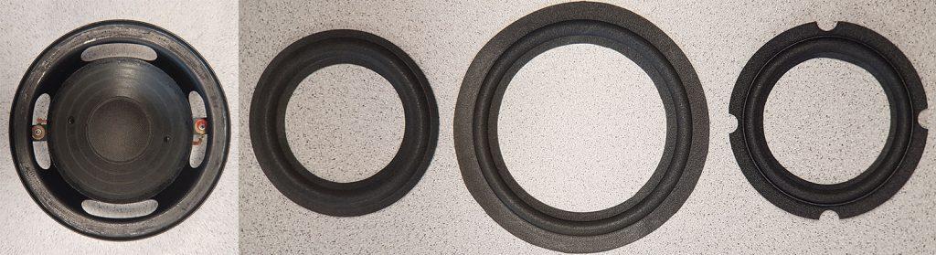 Lautsprecherreparatur: BR 26 Tief-/Mitteltöner Typ 7102 ohne Sicke und drei unterschiedliche Sicken: RFT BR26, Klipsch Promedia Subwoofer und JBL Control1/ProIII