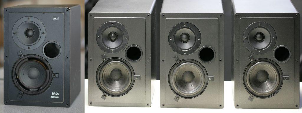 ca. 30 Jahre alte RFT BR26 Nahfeldmonitore, links 1x vor und rechts 3x nach der Restaurierung