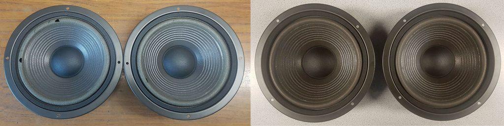 JBL HP 590, vor und nach dem Austausch der Sicken