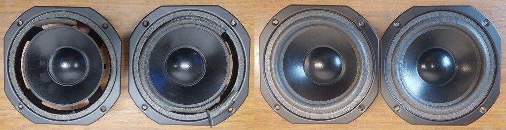 Tieftöner aus MB Quart QL SP1, vor und und nach der Überholung der Lautsprechersicken