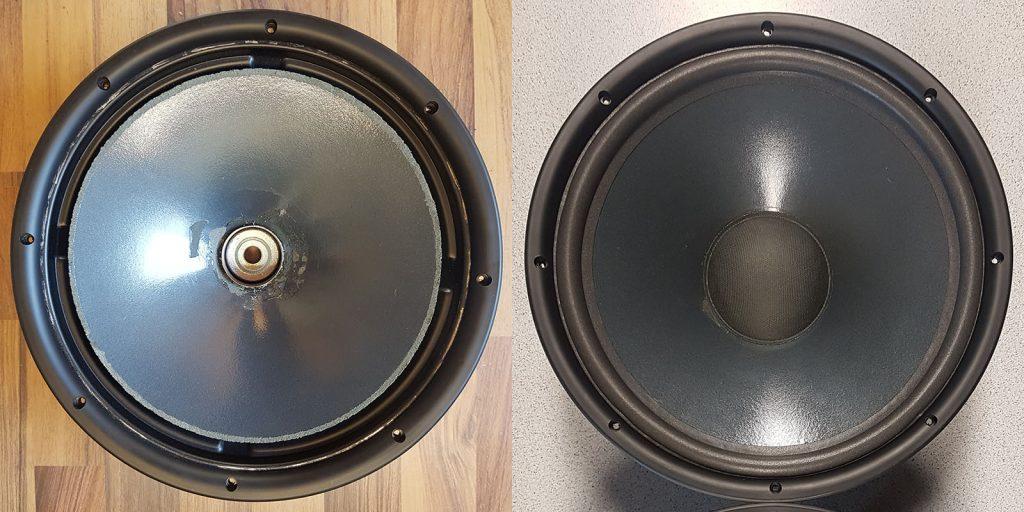 JBL Kappa 100, mit abgerissener Staubschutzkappe eingeliefert, vor und nach der Reparatur
