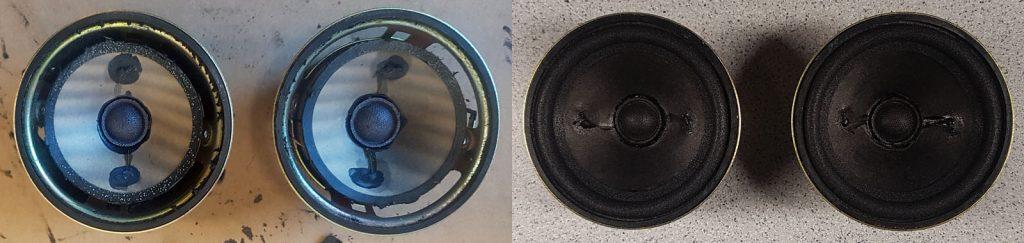 kleine 7cm RFT L1714 aus Trabant-Kugelboxen, vor und nach der Generalüberholung