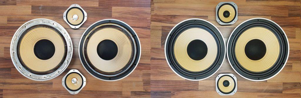 schöne gelbe Braun LA Sound aus den 1980ern, vor und nach der Reparatur
