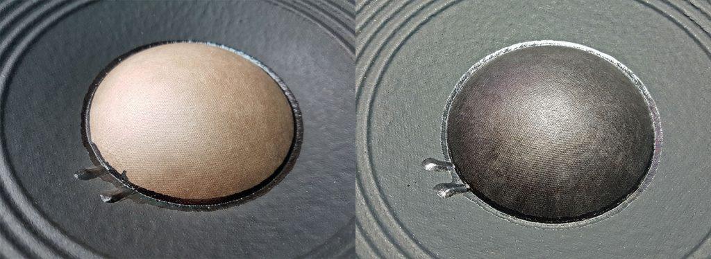 aufgearbeitete (wieder schwarz eingefärbte) Staubschutzkappe (dustcap) eines JBL Tieftöners aus einer TI 250