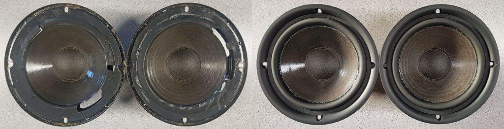 Onkyo SC 475 mit ausgehärteten Gummisicken, vor und nach der Reparatur