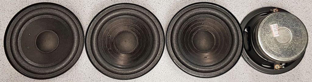 die vier unterschiedlichen Varianten der RFT L7102 Tiefmitteltöner