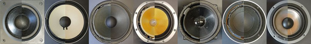 Lautsprecherreparatur: sieben Beispiel-Lautsprecher vor, und nach dem Sickentausch