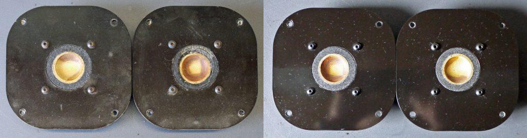 Focal T100K Hochtöner mit Schaumstoffsicken, vor und nach der Reparatur, ein aufwendige Sache - aber machbar