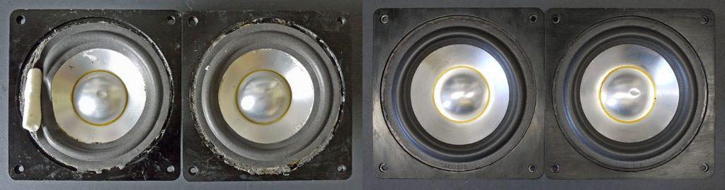 Backes & Müller BM6 Mitteltöner, eingeliefert (links) mit mißglücktem Kunden-Reparaturversuch, rechts nach erfolgreicher Reparatur mit Original Dr.Kurt-Müller-Sicken