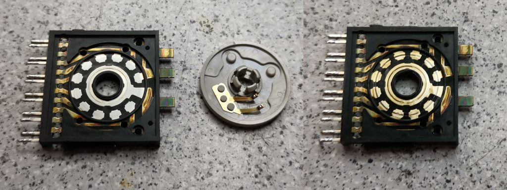 Yamaha AX-1070 Eingangswahlschalter-Kontakte vor und nach der Reinigung