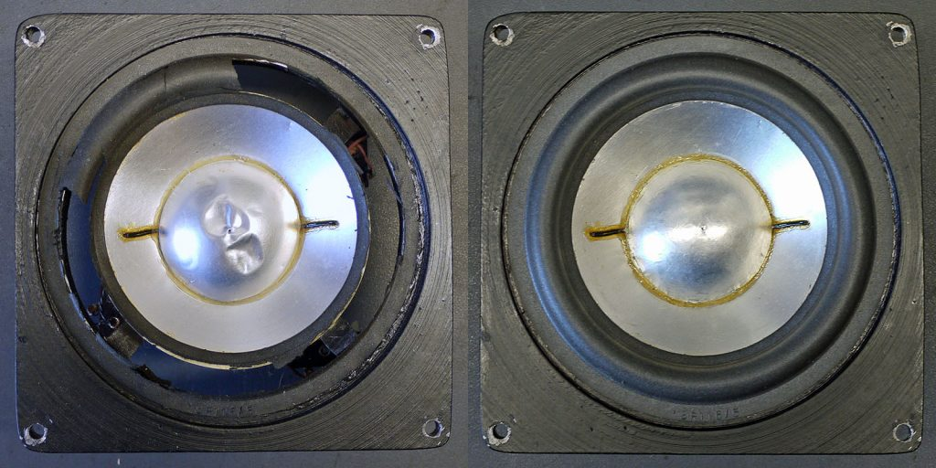 Backes und Müller BM12 Mitteltöner mit defekter Sicke und eingedellter Staubschutzkappe