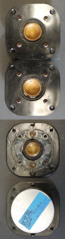 2 Focal Temptation T92K Hochtöner mit defekten Schaumstoffsicken, unten geöffnet
