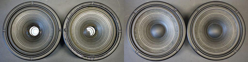 """JBL A608 Tieftöner aus JBL LX1000 mit zerbröselten Schaumstoff-Staubschutzkappen und laienhafter Sicken-""""Reparatur"""" links - rechts: schöner war es leider nicht machbar"""
