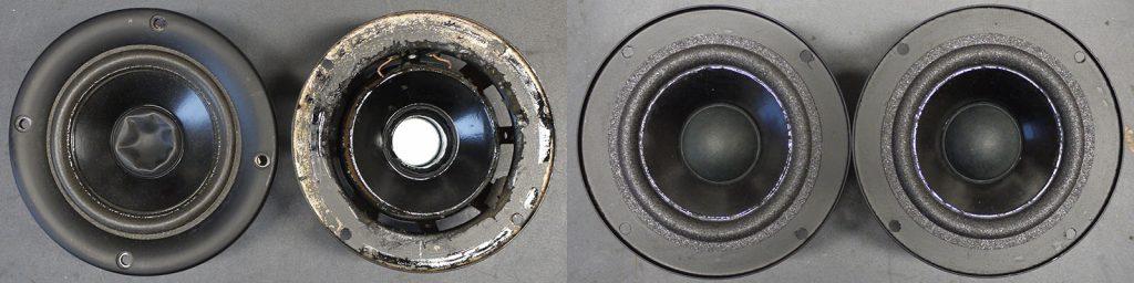 Mitteltöner aus Infinity Reference 61 mkII mit zerstörter/fehlender Staubschutzkappe, Lautsprecher-Korb in schlechtem Zustand, ein Zierring fehlt und natürlich mit defekten Sicken