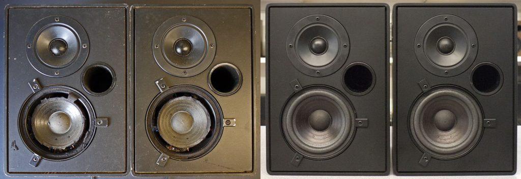 sehr beliebte RFT BR25 in schwarz, links in bedauernswertem Zustand, rechts komplett revidiert, optisch und akustisch wieder sehr schön
