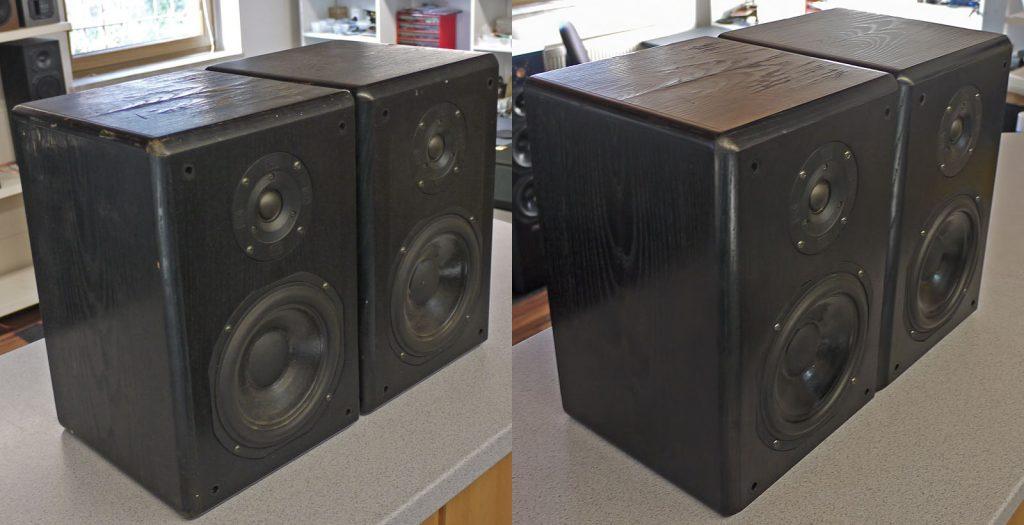 T+A Stratos P10 Echtholzfurnier schwarz mit straken Gebrauchsspuren vor und nach der Restaurierung