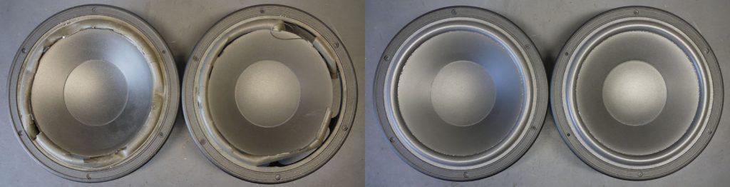 Dynaudio 30W54 aus Dynaudio400 links mit defekten Sicken. rechts mit neuen Dr.Kurt-Müller Schaumstoffsicken