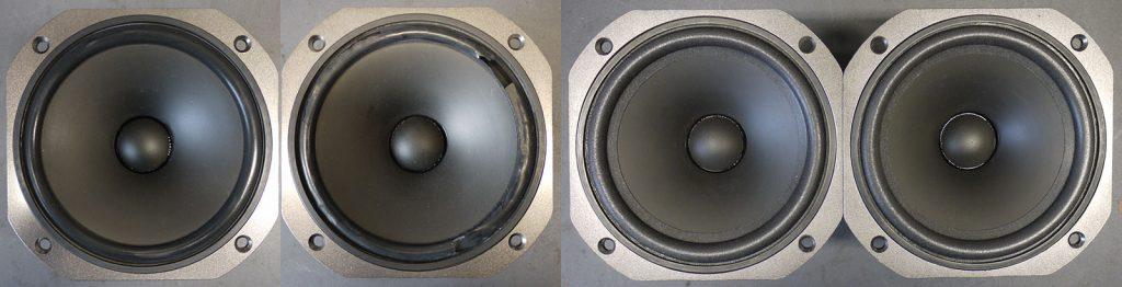 Yamaha JA 1612-950851 aus AST-S1, links ausgehärtete und zerbrochene Gummisicken - leider nicht beschaffbar, rechts neue sehr weiche passende Schaumstoffsicken