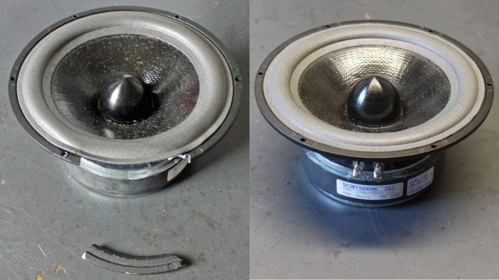 Scan-Speak 18W/8544-02 aus Audio Physic Tempo mit zerbrochenem Korb und nach der Reparatur (Korbtausch)