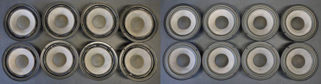 8 Stück Tieftöner aus Visonik da capo 70, mit teilweise stark gewellten Membranen