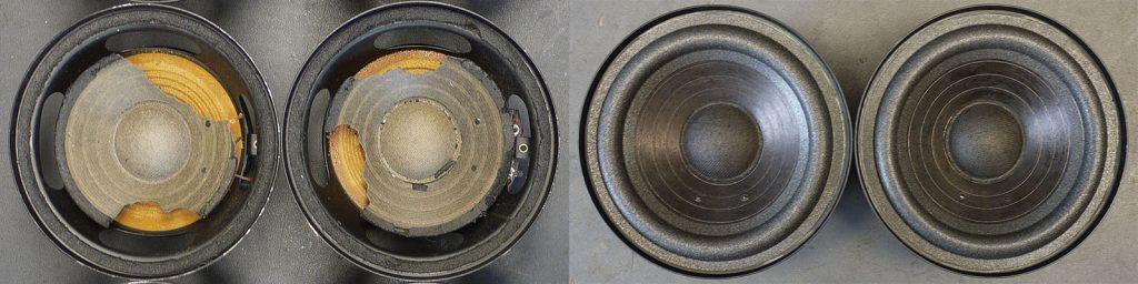 zwei RFL L7114 mit teilweise fehlenden Membranen vorher-nachher