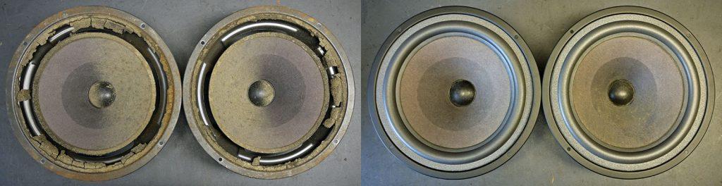 Tieftöner aus einer NSM Musikbox, auch die Körbe waren verrottet und wurden restauriert