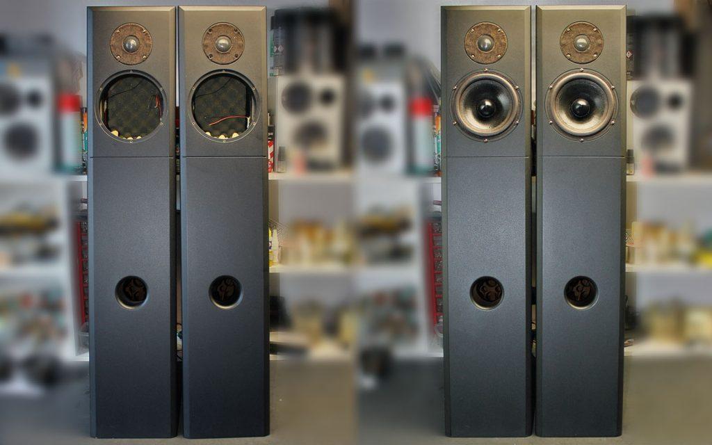 Audio Physic Tempo 1, Sicken der Tieftöner wurden erneuert und das ausgehärtete Ferrofluid aus den Hochtönern wurde entfernt