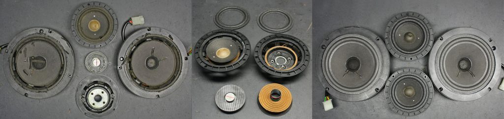 4 Blaupunkt-Lautsprecher aus einem Porsche 928, 4x def. Sicken und ein abgerissener Magnet