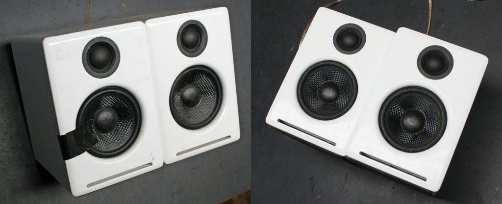 Audioengine 2 Mini Aktivboxen mit zerbrochenen verhärteten Gummisicken