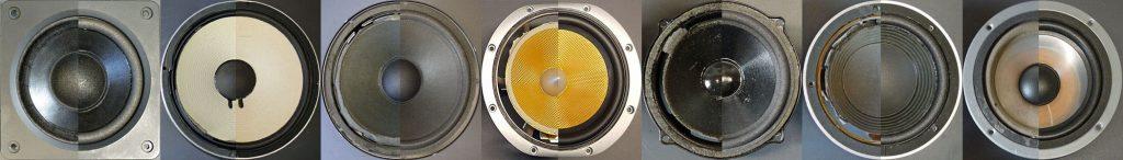 Lautsprecherreparatur: sieben Beispiel-Lautsprecher - vor, und nach dem Sickentausch
