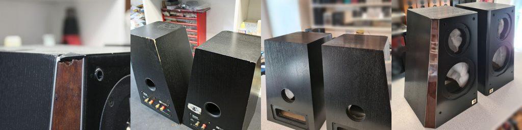 JBL Ti 1000 Gehäuse mit deutlichen Schäden, vor und nach der Instandsetzung